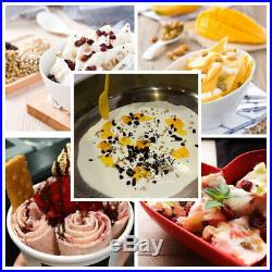 110V Fry Ice Cream Rolls Machine Cold Slab Freeze Plate S/Steel Pan 6 Bucket