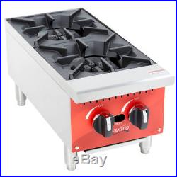 12 2 Burner Gas Range Hot Plate Countertop Restaurant Commercial Propane LP
