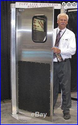 36x 84 Stainless Steel Restaurant Door. NEW Traffic Door with kick plates