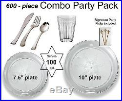 600-pc Party Pack-Premium Plastic CLEAR Plates, Silver Cutlery, Clear Tumblers