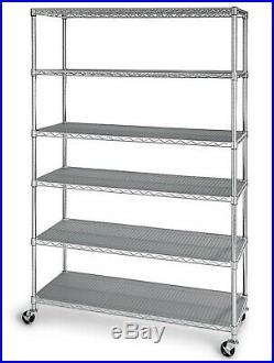 6 Shelf Wire Shelving Metal Storage Rack Heavy Duty Zinc Plated Steel