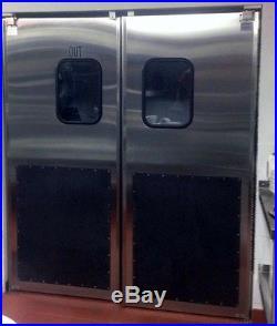 6'x 7' Stainless Double Door With Kick Plates. Restaurant Kitchen Traffic Doors