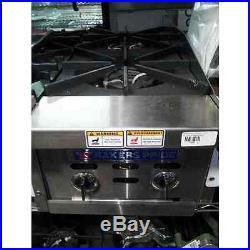 Bakers Pride BPHHP-212I 12 Countertop Two Burner Gas Range / Hot Plate