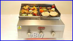 Char Grill 3 Burner Flame Bbq With Griddle & Hot Plate Chicken Burger Lambchop