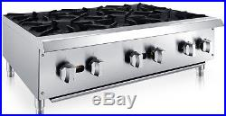 Chef's Exclusive 36 6 Burner Commercial Countertop Hot Plate 150,000BTU NAT GAS