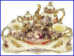 Classic Gold-Plated Vintage Porcelain Dining Tea Set for Six, 10-Piece Set