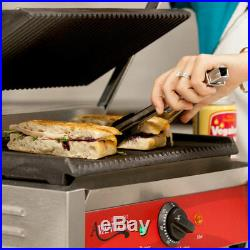Commercial Panini Press Grill Sandwich Maker Grooved Plate Restaurant Food Truck