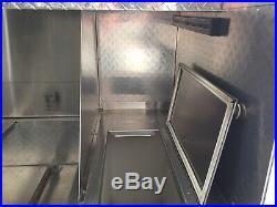 Diamond Plate Victor Hot Dog Cart & Top Storage Box, Sink & 2 Steamers & Ice Box
