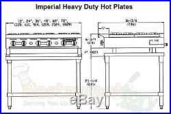 Imperial Hot Plates Open Burners Cast Iron Grates Nat Gas Model Ihpa-2-12