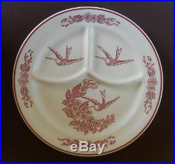 JACKSON CHINA Restaurant Ware RED HUMMINGBIRD Divided Grill Plates Cook's Supply