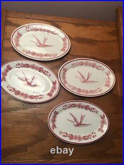 Jackson China Cook's Hotel Restaurant Supply NY Red Hummingbird Mini Oval Plates