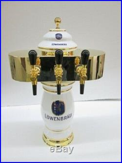 Lowenbrau 3 Facuet Ceramic/Porcelian Tower Gold Plated Faucets, Housing and Base