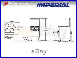 New 24 Electric Commercial Range 4 Plates 1 Oven, IMPERIAL IR-4-E