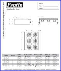 Pantin 36 Commercial 6 Burner Countertop Gas Range Hot Plate NSF 180,000 BTU