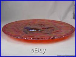 Rare MIMI FENTON Carnival Glass Farm Yard Orange Marigold 11 Chop Plate