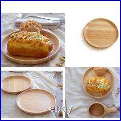 Round Plate Food Display Restaurant Supply Wooden Snack Breakfast Suitable