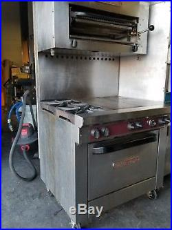 Southbend X436D-2HT 2 Burner+2 Hot Plate+Oven Nat. Gas with a 36 Salamander