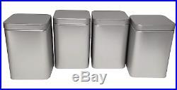 Storage Canister Tin Plated Steel 4 Set Spice Herbs Kitchen Restaurant Supply